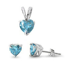 BEST SELLING GIFT!  Blue Topaz .925 Sterling Silver Earrings & Pendant Set .5""