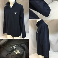 New York Yankees Antigua Pullover L Blue 1/4 Zip Cotton Poly Sewn On YGI 9177