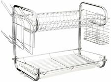 Uniware 16 Inch Double Dish Rack with Glass and Utensil Holder