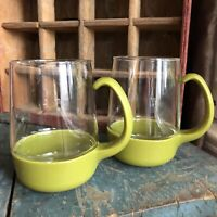 2 Vintage Pyrex Ware Avocado Green Drink Up Glass Mugs Cups With Plastic Handles