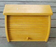 "Vtg Wood Bread Box Roll-Up Door Shelf Top Wooden 16"" Wide Shabby Chic Yellow"