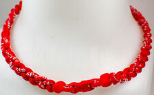 "NEW 20"" Custom Clasp Braided Sports Twisted All Red Rojo Tornado Necklace"