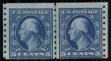 US #396 5¢ blue, Coil Guide Line Pair, og, LH, F/VF, Miller certificate,
