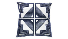 Cushion - Embroided Cotton Navy Blue & White