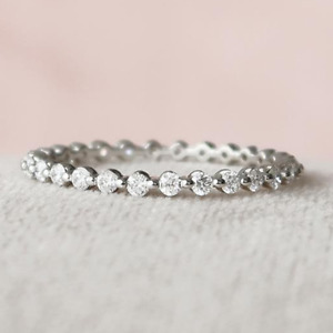 1.0 TCW Round Cut VVS1 Moissanite Wedding Eternity Band In 14 White Gold Plated