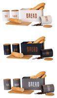 4pcs Food Storage Set Bread Bin Chopping Board Canisters Tea Coffee Sugar Bamboo