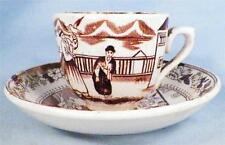 Antique Sana Demitasse Cup & Saucer Oriental Men Boy Dog Bird Brown Transferware