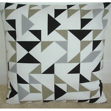 "14"" Cushion Cover Black Grey Taupe Beige Modern Contemporary Geometric Retro"