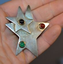 """3 Stones 20.4 grams 2"""" by 2.5"""" Vintage Mexico Sterling Silver 925 Stars Pin w/"""