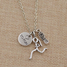 Runner Girl Marathon Shoe Running Necklace Antique Pendant Chain Unisex Jewelry