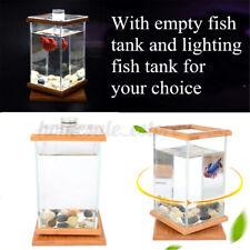 Rotatable Mini Aquarium Led Lighting Clear Glass Fish Tank Office Desktop Decor