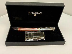 Bombay wood grain  fountain pen and money clip set  New
