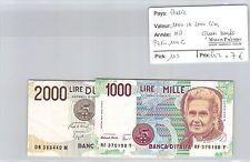 2 BILLETS ITALIE - 1000 et 2000 LIRE - NON DATÉ - QUASI NEUFS !