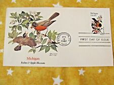 1982 STATE BIRDS & FLOWERS SERIES Michigan Robin & Apple Blosso UNADRESSED Stamp