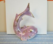 Vintage 1950s Pink And Gold Ceramic Fish Wall Pocket