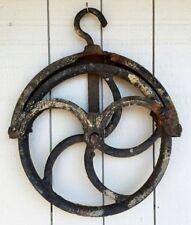 Well Pulley Barn Wheel Steampunk Antique Cast Iron Industrial Primitive Hay Loft