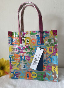 Dooney & Bourke DB Doodle Logo Clear Transparent Small Lunch Tote Purse Bag New