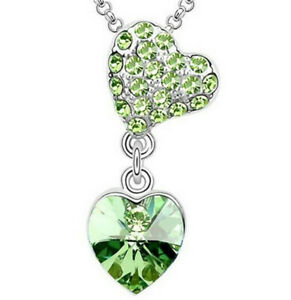 New Fashion Girls Necklace Green Crystal Heart Cz Cubic Zirconia Pendant Gift