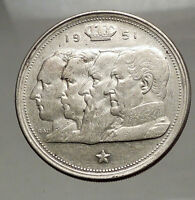 1951 BELGIUM Kings Leopold I II III & Albert I - SILVER 100 Francs Coin i57138