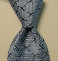 TUMI Men's 100% Silk Necktie ITALY Luxury AIRPLANES Blue/White EUC Classic Rare