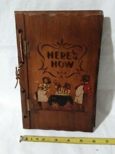 1941 Here's How Wooden Mixed Drink Recpe Book W. C. Whitfield 3 Mountaineers. B4