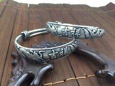 A pair of Tibet silver dragon phoenix Bracelets girl Valentine's Day Gift