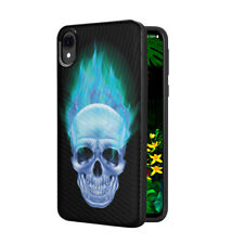Cute Pretty Black Case Cover Motorola Moto E6 XT2005 - Blue Flame Skull