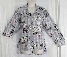 Notations Comfy Casual Black White Burgundy Grid Floral Button Down Top 3X NWT