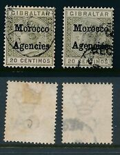 MOROCCO AGENCIES, 1898 20c (1st printing) both shades FU,cat £16,SG3b,3c