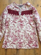 Laura Ashley Floral Linen Kaftan Blouse Top. Size 8. Bnwt