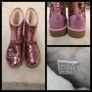 UGG Sequin Boots Women's Size 7 Pink Classic Short Inv#Z3088