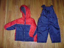 OshKosh SNOWPANT SUIT SNOW PANTS BIB HOOD JACKET TODDLER size 2 2T BOYS BLUE RED
