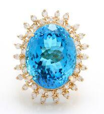 32.00 Quilate Natural Azul Suizo Topacio y Diamantes en 14K Sólido