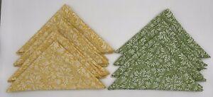 "Williams Sonoma Set of 8 Cloth Napkins 20"" X 20"" 4 Yellow 4 Green Leaf Pattern"