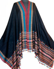 Large, Handwoven, Wool Shawl from Kutch India. Artisan Handcrafted, Black Stole