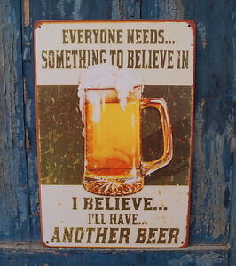 BEER POSTER Rusted Tin Sign Man Cave Home Pub Bar Wall Decor