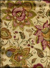 """Persia"" Print gold inlay tan mauve wine beige on tan Fabric by P & B Textiles"