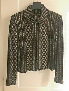 St. John Evening Gold & Black Sequined Knit Zip Jacket Women's10
