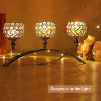 3 Wick Crystal Party Event Table Tealight Votive Candle Holder Candlestick