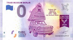 0 Euro Trabi-Museum Berlin Trabant Dachzelt XEAK 2020-1 Souvenir Null € Banknote