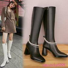 Fashionable Women's High Block Heels Leather Knee High Boots Autumn Winter Shoes