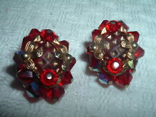 Earrings In Gift Box, Beautiful Vintage Estate Ruby Red Crystal Clip