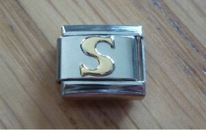 Italian Charms - Gold Letters Letter S Fits Classic Size Italian Charm Bracelet