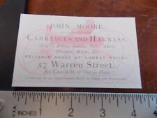 1885 John Moore Carriage Maker NYC New York City Business Card