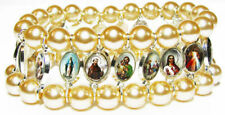 Religious images Jesus medals glass pearl icon bracelet