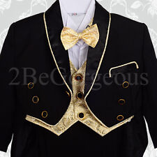 Baby Boy Black Formal Tuxedo Suit Wedding Pageboy 6m-9m