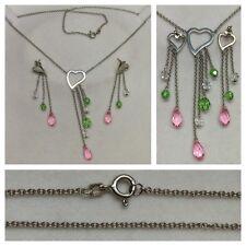 Set Gioielli: collier e orecchini 925er CUORE D'argento con pietre di colore