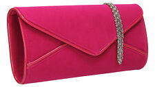 Women Perry Suede Envelope Leather Ladies Evening Party Prom Smart Clutch Bag