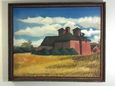 Vintage MID CENTURY - Rustic Barn- Original Painting on Canvas - SIGNED Framed