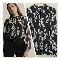 [ WITCHERY ] Womens Plisse Georgette Blouse Top  | Size AU 16 or US 12